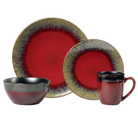 Gourmet Basics by Mikasa Calder Red 16-Piece Set