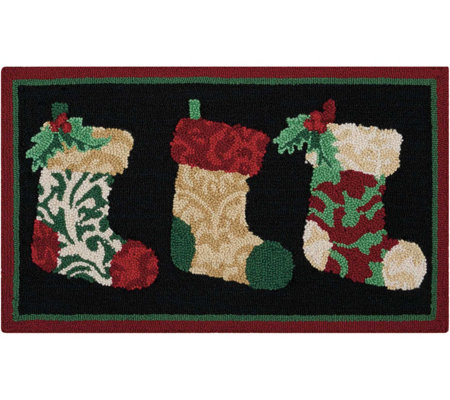"Waverly 21"" x 33"" Christmas Stockings Rug by Nourison"