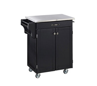 Home Styles Cuisine Cart Black Finish with Staiess Steel Top - H127302