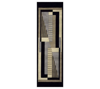 "Momeni New Wave Geometric 2'6"" x 12' Handmade Wool Runner - H161702"