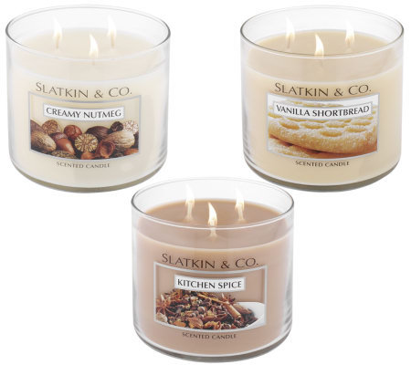 Slatkin & Co. Set of 3 Gourmet Triple Wick 14.5oz. Candles