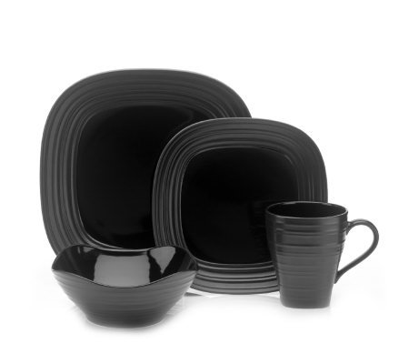 Mikasa Swirl Square 4 Piece Place Setting - Black