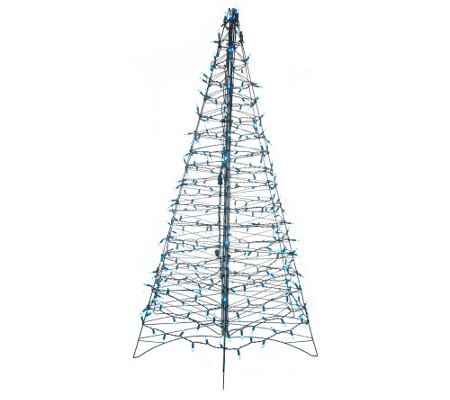 """As Is"" Pre-Lit 5' Fold Flat Outdoor Christmas Tree by Lori"