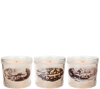 Set of 3 Candle Impressions Currier & Ives Keepsake Glass Candles - H205402
