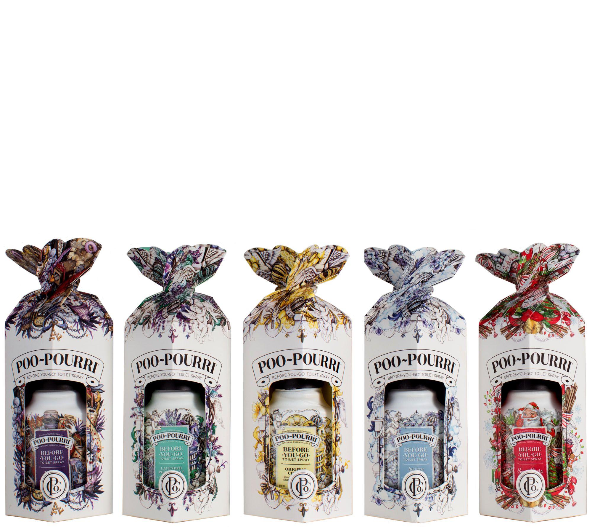 Poo-Pourri Set of 5 2 oz. Bathroom Deodorizers in Gift Boxes ...
