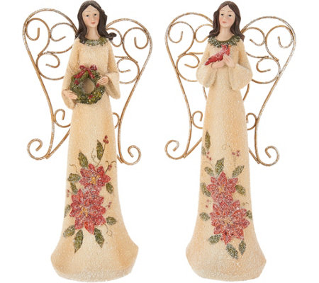 "Set of 2 11"" Angels with Embossed Holly & Poinsettias by Valerie"