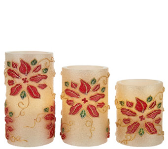 """As Is"" Set of 3 Poinsettia Embossed Flameless Candles - H211102"