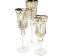 Set of 3 Fluted Mercury Glass Goblets with Microlights by Valerie - H211502