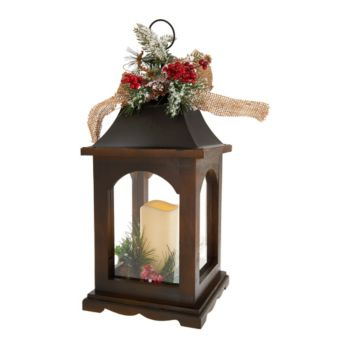 Plow & Hearth 17 Wooden Lantern with FlamelessCandle & Burlap Bow