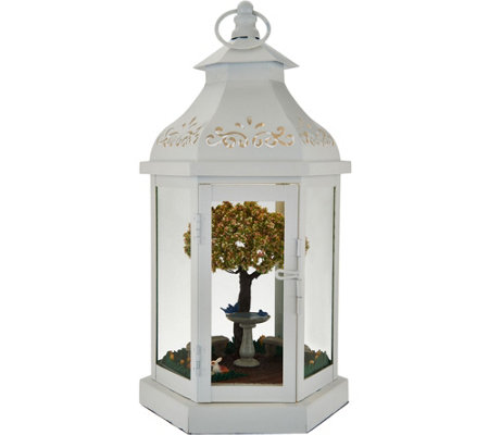 "Illuminated 13"" Lantern with Spring Scene Inside Auto-Delivery"