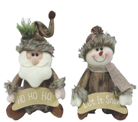 "Set of 2 9"" Santa and Snowman Sitters by Santa's Workshop"