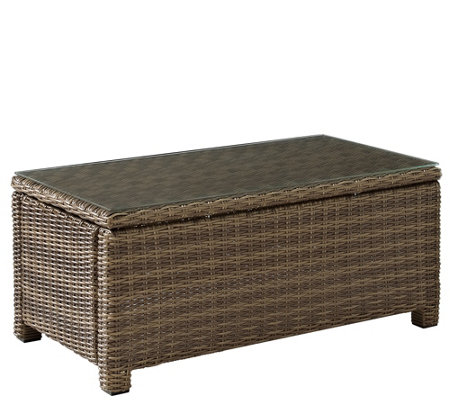 Bradenton Outdoor Wicker Glass Top Table