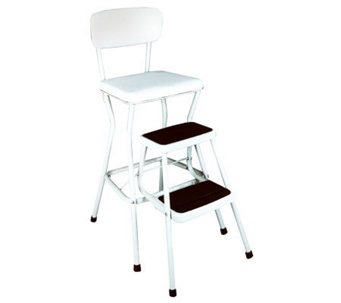 Cosco White Retro Counter Chair / Step Stool w/Pull-out Steps - H356702