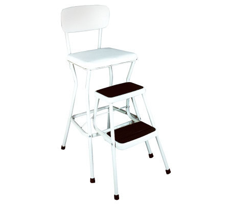 Cosco White Retro Counter Chair / Step Stool w/Pull-out Steps
