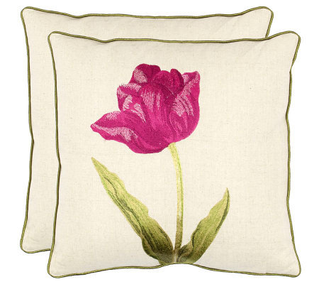"Set of 2 18"" x 18"" Meadow Pillows in Fuchsia from Safavieh"
