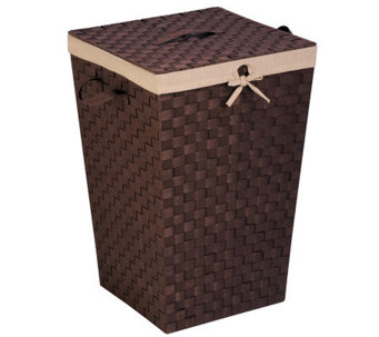 Honey-Can-Do Woven Strap Hamper with Liner andLid - H367402