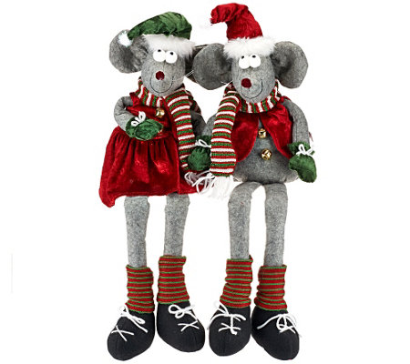 Set of 2 Sitting or Standing Plush Mouse Couple by Valerie