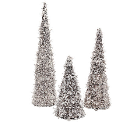 Set of 3 Glittering Ice Graduated Decorative Trees