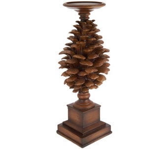 "14.5"" Pinecone Candle Holder Pedestal - H209403"