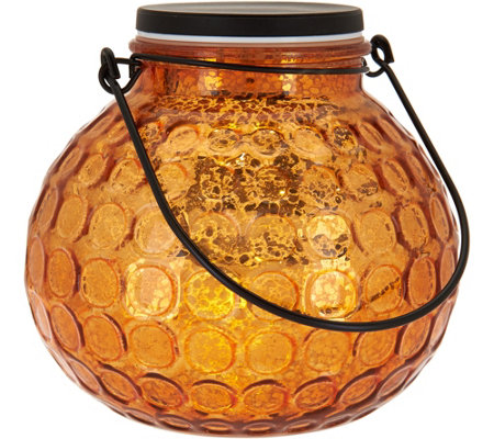 Illuminated Hammered Glass Round Lantern by Valerie