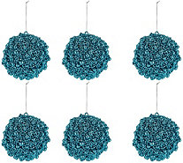 Set of 6 Glitter Berry Ornaments by Valerie - H211603