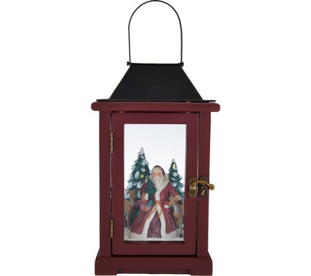 """As Is"" 15"" Illuminated Lantern w/ Winter Scene by Valerie"