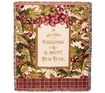 Merry Christmas Holly Throw by Simply Home - H282603