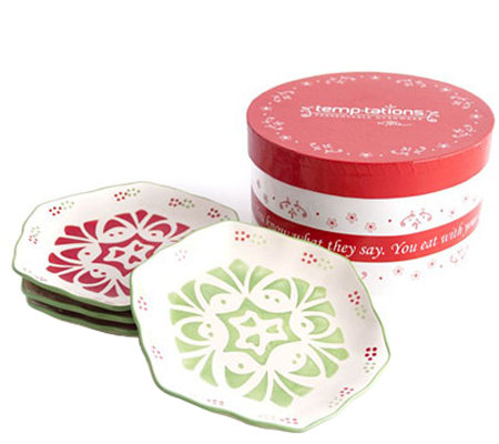 Temp-tations Set of 4 Winter Garden Dessert Plates in Gift Bo