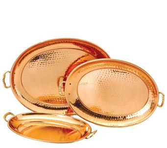3-pc Old Dutch International Decor Copper-Plated Oval Trays - H288103