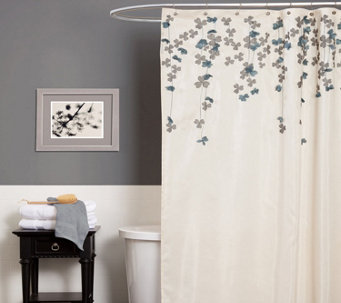 Flower Drops Ivory/Blue Shower Curtain By LushDecor   H292903