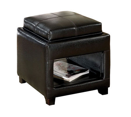 Espresso Ottoman with Flip-Top Tray