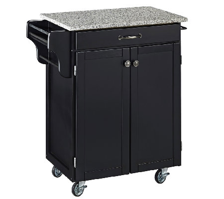 Home Styles Cuisine Cart Black Finish with Grane Top
