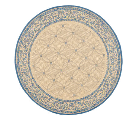 "Safavieh Courtyard Lattice Flower 6' 7"" Rug Round"