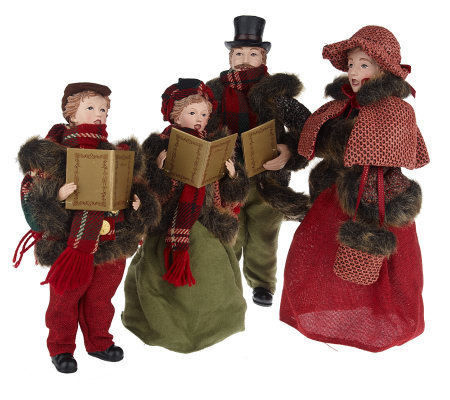"""As Is"" 4-piece Dickens Family Carolers by Valerie"