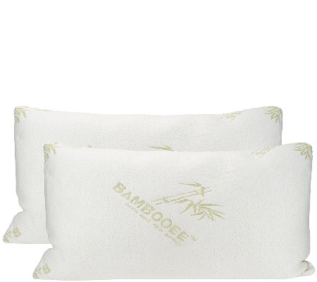 S/2 King Memory Foam Pillows w/Rayon madefrom Bamboo by Lori Greiner