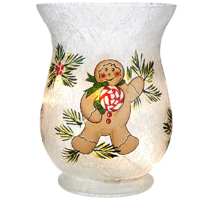 Holiday Frosted Glass Vase with Micro Lights by Valerie
