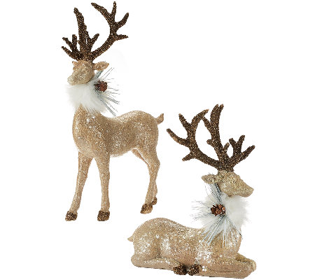Set of 2 Sparkling Reindeer with Faux Fur Collar