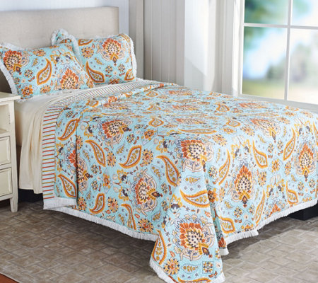 100% Cotton Reversible King Quilt with Fringe and Shams