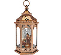 "Plow & Hearth 13"" Illuminated Lantern with Holiday Scene - H211604"