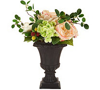 """As Is"" 17"" Spring Raspberry Rose and Magnolia Urn Arrangement - H216204"