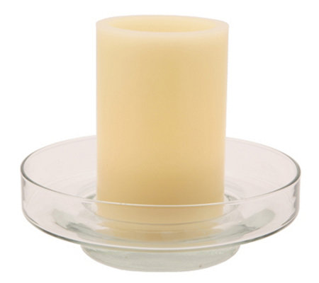 Pacific Accents Bingham Glass Fillable Dish w/Ivory Candle