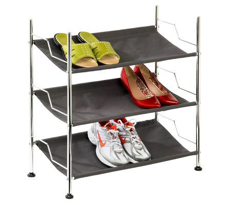 Honey-Can-Do 3-Shelf Chrome Frame Canvas Shoe Rack