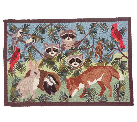 Claire Murray Hand Hooked Forest Creatures Wool Accent Rug
