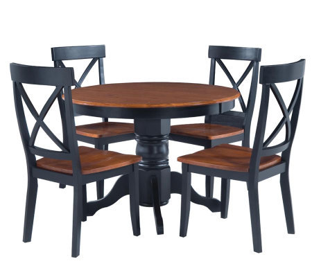 Home Styles 5-Piece Pedestal Black Dining Set
