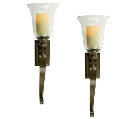 "Home Reflections S/2 27"" Sconces w/ Flameless Candle"