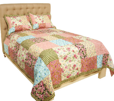 Garden Stroll 100% Cotton TW Pieced Quilt Set with Sham