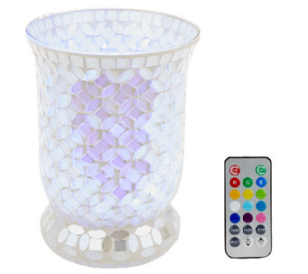 Mosaic Pearl Hurricane with Multi-Function Light & Remote by Valerie - H204605
