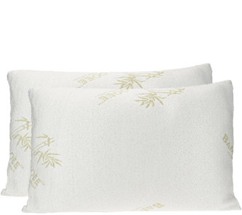 S/2 Queen Memory Foam Pillow w/Rayon madefrom Bamboo by Lori Greiner - H204905