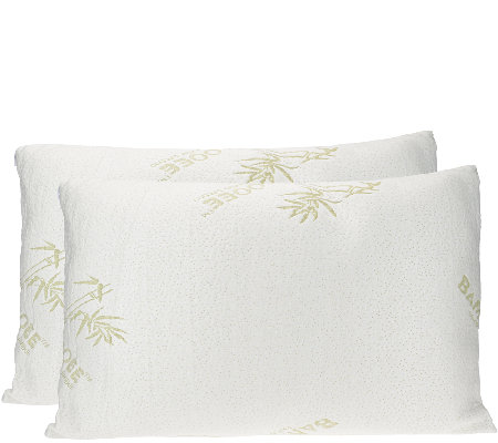 S/2 Queen Memory Foam Pillow w/Rayon madefrom Bamboo by Lori Greiner