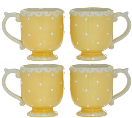 Set of 4 Swiss Dot Plates, Bowls or Mugs by Valerie